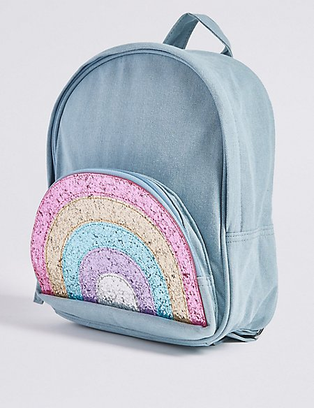 Kids' Pure Cotton Glitter Rainbow Backpack