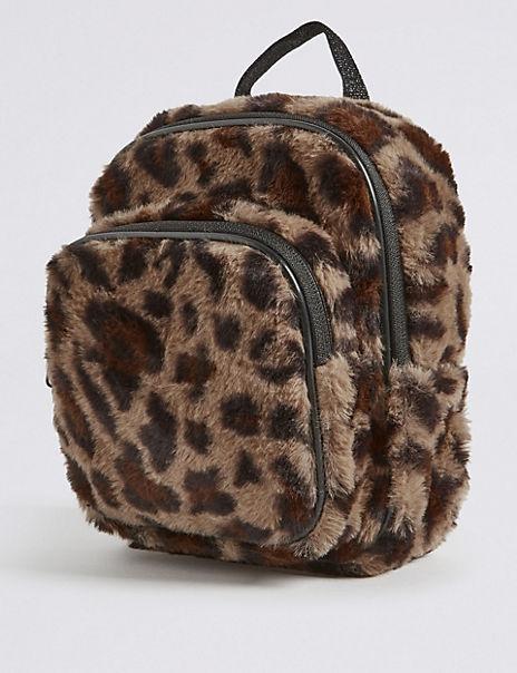 Kids' Faux Fur Leopard Mini Backpack