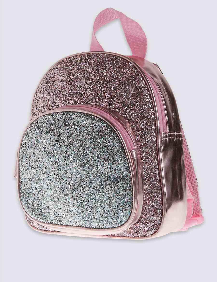 8eac3b4868 Kids  Faux Leather Glitter Rucksack Bag