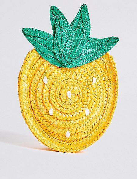 Kids' Straw Novelty Pineapple Cross Body Bag