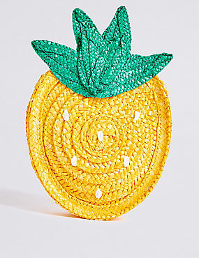 Kids' Straw Novelty Pineapple Cross Body Bag