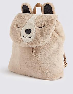 Kids' Polar Bear Faux Fur Backpack