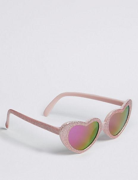 Kids' Heart Frame Glitter Sunglasses