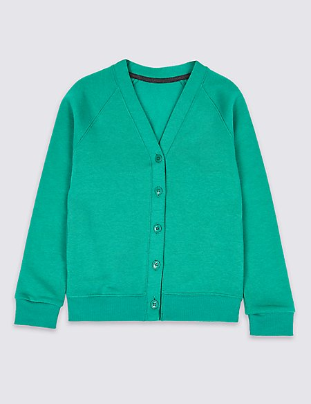 Cotton Rich Long Sleeve Sweat Cardigan with StayNEW™