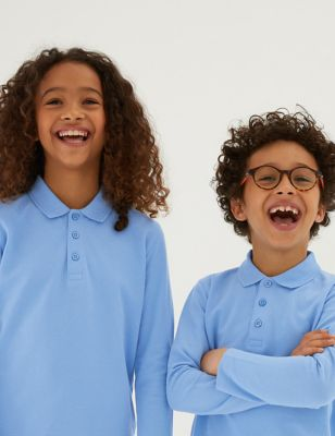 Unisex Long Sleeve Polo Shirt by Marks & Spencer