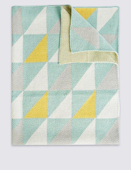 Geometric Print Knitted Shawl