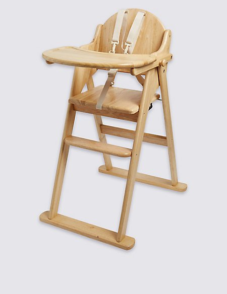 Natural Wood Folding High Chair