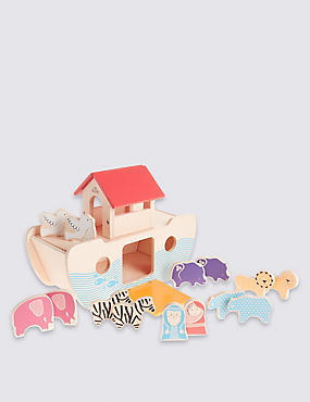 Wooden Noah's Ark with Animals