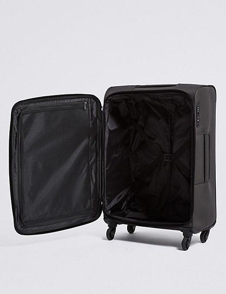 Medium 4 Wheel Soft Suitcase with Security Zip