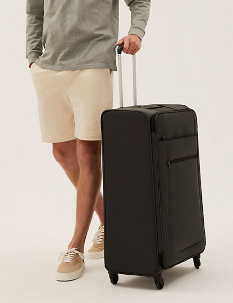 Large 4 Wheel Soft Suitcase with Security Zip