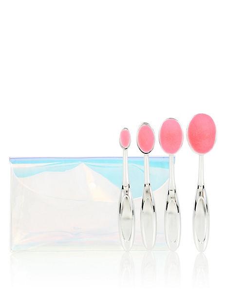 Crystal Oval Make Up Brushes Set