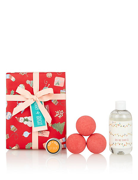 Large Merry & Bright Wrapped Beauty Gift