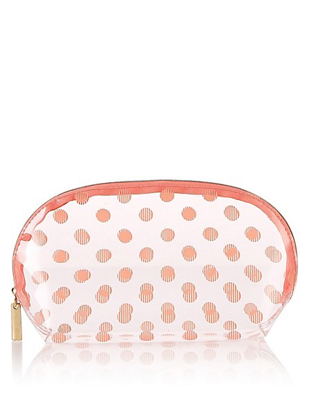 Clear Spotted Make-Up Bag