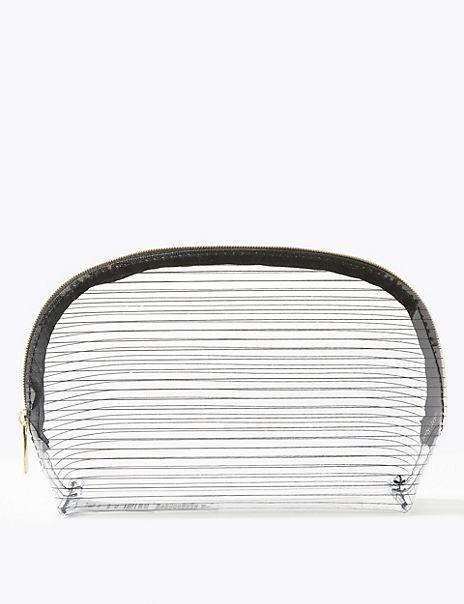 Clear Striped Make-Up Bag