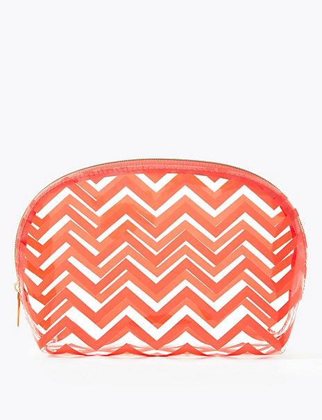 Clear Chevron Make-Up Bag