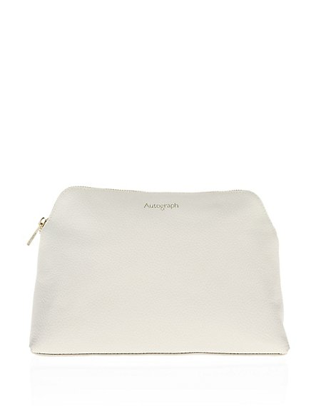 Cream Leather Wash Bag