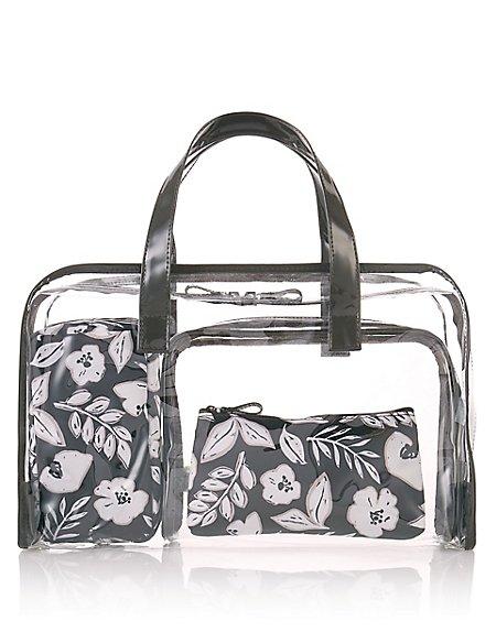 4 Piece Floral Print Bag Set