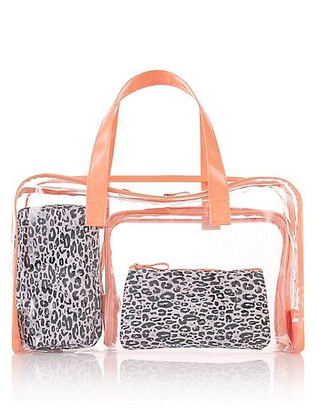 4 Piece Leopard Print Bag Set