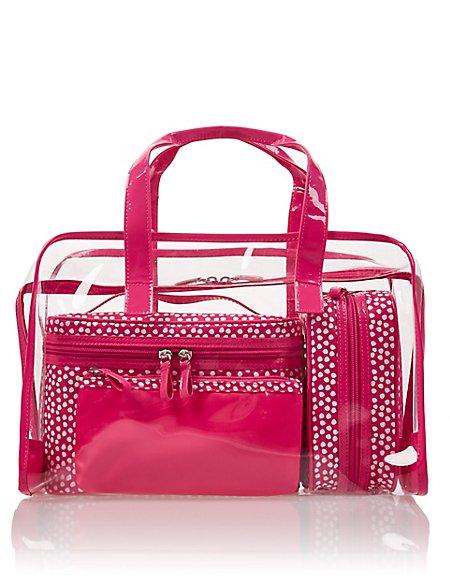 4 Pink Spot Cosmetic Bag Set