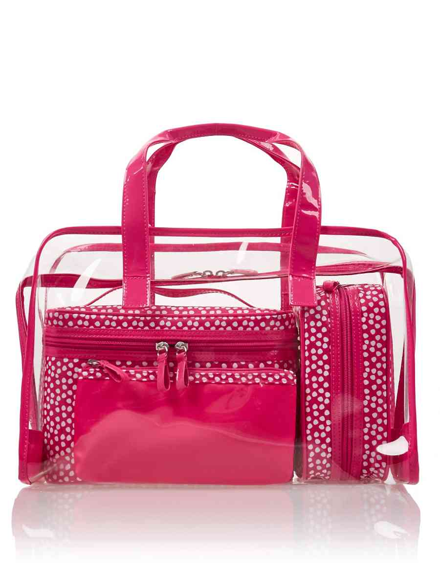 4 Pink Spot Cosmetic Bag Set