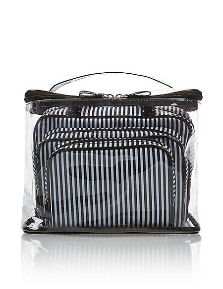 4 Black & White Cosmetic Bag Set