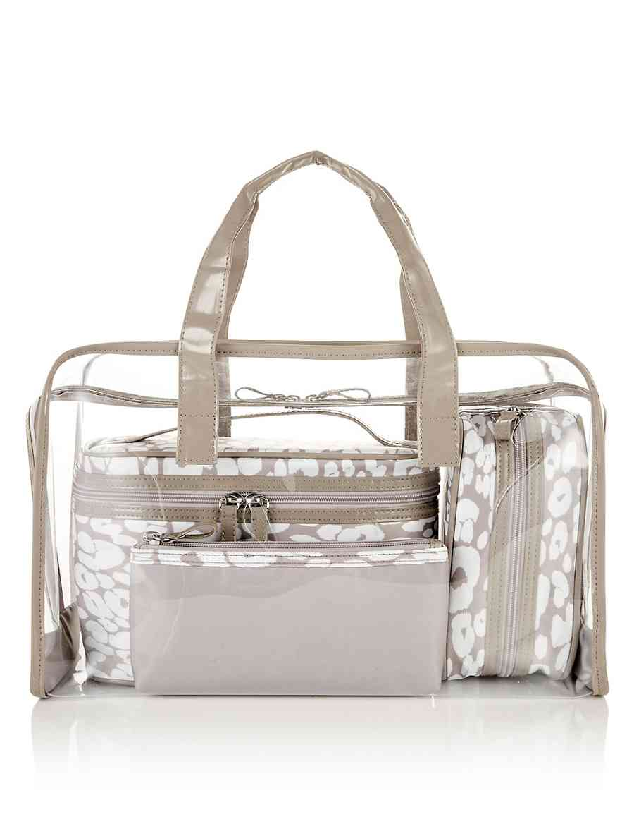 4 Piece Clear Cheetah Print Bag Set