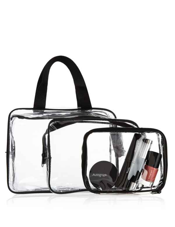 0e8ee8375156f0 3 Piece Clear Cosmetic Bag Set