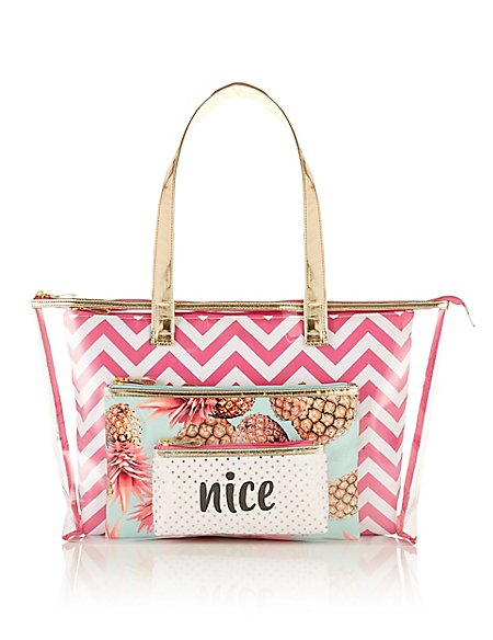 Summer 4 Piece Clear Tote Bag Set