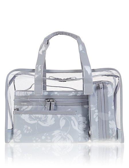 Grey Floral Cosmetic Bag Set