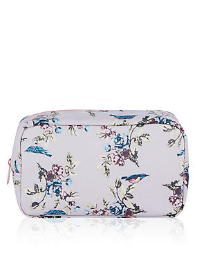 Vintage Bird Print Makeup Bag