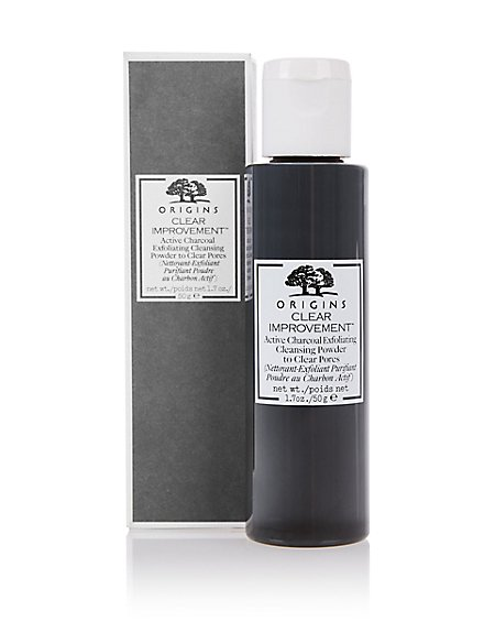 clear improvement active charcoal exfoliating powder cleanser 50g