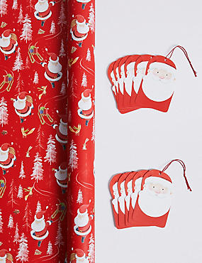 Santa Jumbo Christmas Wrapping Paper 14m & 12 Gift Tags