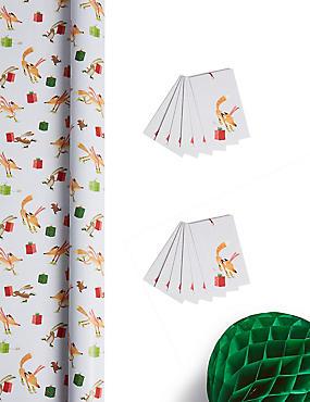 Fun Festive Jumbo Christmas Wrapping Paper 14m & 12 Gift Tags