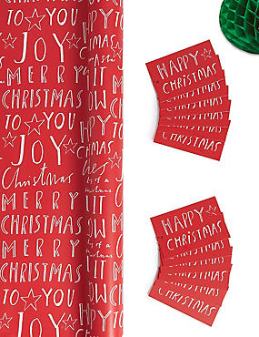Red & White Text Jumbo Christmas Wrapping Paper 14m & 12 Gift Tags