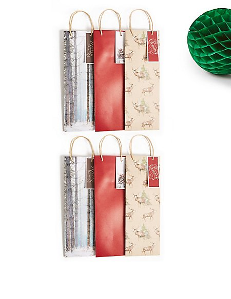 Woodland Christmas Bottle Gift Bags Pack of 6