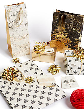 Gold & Black Christmas Gift Wrapping Collection