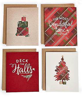 Festive Tartan Christmas Charity Cards Pack of 20, , catlanding