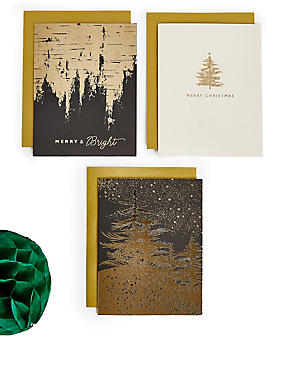 Black & Gold Christmas Charity Cards Pack of 20, , catlanding