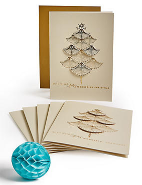 Gold Deco Luxury Christmas Charity Cards Pack of 6, , catlanding