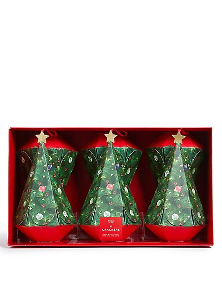 Christmas Tree Shaped Christmas Crackers Pack of 6