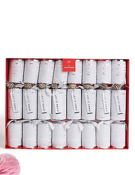 Silver Birch Luxury Christmas Crackers Pack of 8