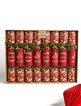 Red & Gold Festive Icons Luxury Christmas Crackers Pack of 8