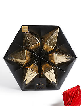 Black & Gold Diamond Shaped Christmas Crackers Pack of 6