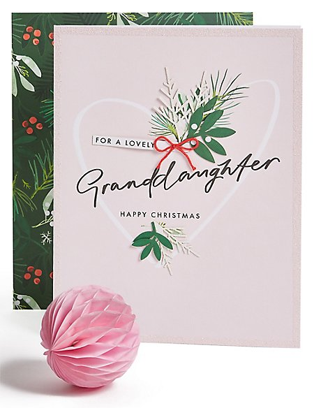 Granddaughter Foliage Christmas Charity Card