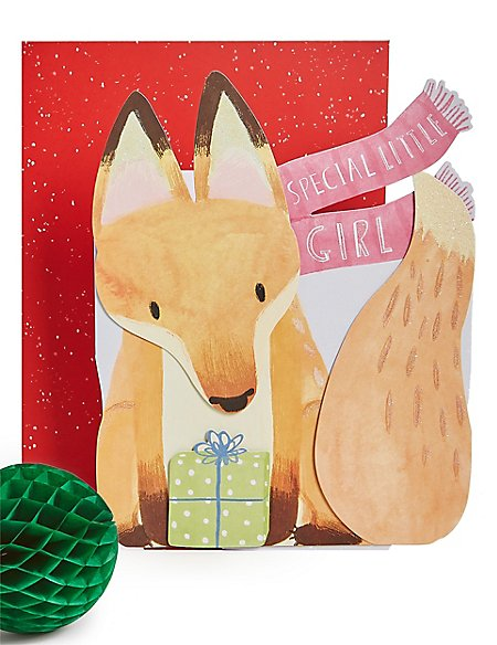 Special Little Girl 3D Fox Christmas Charity Card