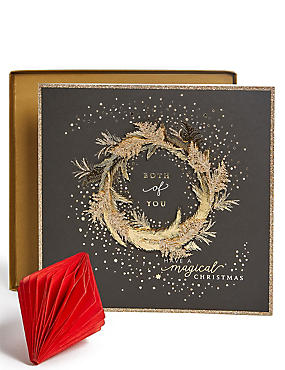 Both of You Gold Wreath Christmas Charity Card