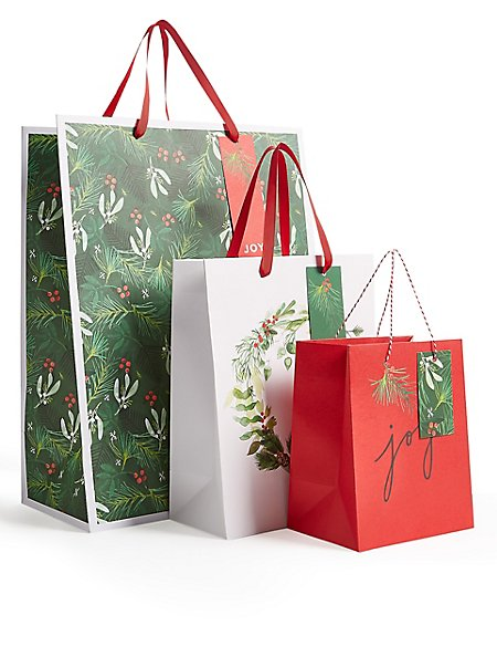 Christmas Foliage Gift Bags Pack of 3