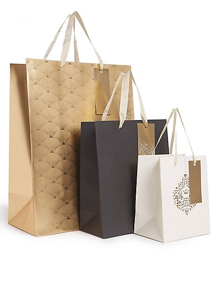 Gold & Black Christmas Gift Bags Pack of 3