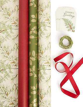 Red & Green Christmas Gift Wrap Pack 4.5m