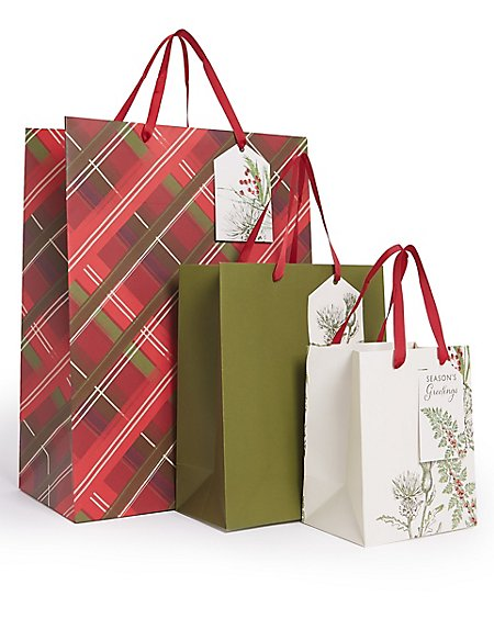 Tartan & Foliage Christmas Gift Bags Pack of 3